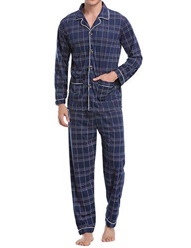 Aibrou Herren Baumwolle Pyjama Set, Winter Warm Langarm Zweiteiliger Schlafanzug Karierte Nachtwäsche Blau S