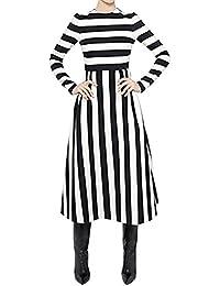 Vestido Maxi De Playa Para Mujer Raya Vestido Mangas Larga De Cóctel Fiesta De Vestir Como la imagen XXL