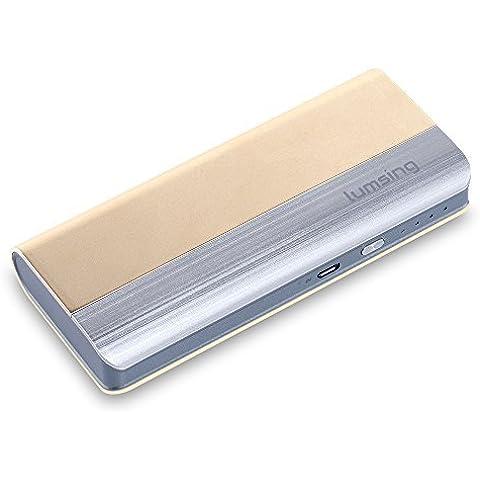 Lumsing® Batería externa (Power Bank) 13000mAh, Batería portátil ultra delgada, Energía móvil, 2 puertos de Cargador 5V/1A,5V/2.1A para Smartphones (Teléfonos inteligentes) iPhone 6s / 5s , iPad, iPod, Samsung, Tablet PC, HTC, MP3, MP4, PSP, GoPro, GPS y otros dispositivos USB (dorado)