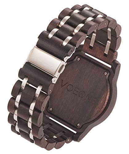 VOEONS Herren Uhr, Herren-Armbanduhr Chronograph Holzuhr mit Gliederarmband Schwarz 6010 - 3