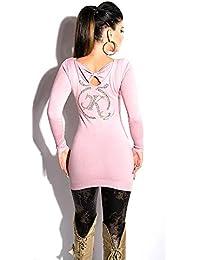 dcacec4a4f0afb Blanco Store - Pullover Donna con Fiocco Maximaglia Maglione Lungo con  Borchie E Strass