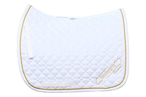 Schabracke Weiss Model FLEMMINGH by twohearts (Premium Qualität Ergonomisch und Atmungsaktiv) (XL Dressur (ca 3 cm mehr Rückenlänge))