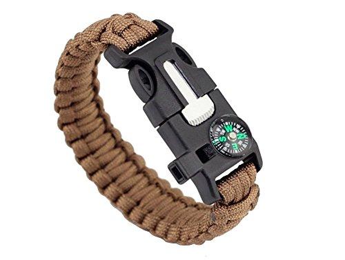 ZENDY Paracord Bracelet Corde avec racleur Firestarter Inoxydable et Un sifflet et Une Boussole Multifonction Survie en Plein air (6)