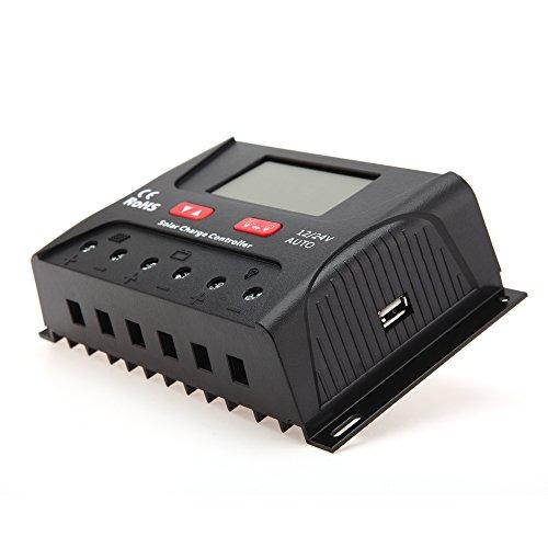 HQST 30A Solarmodul Solarpanel Laderegler Intelligenz mit LCD-Anzeige für 12V/24V Solarsystem Solarbatterie