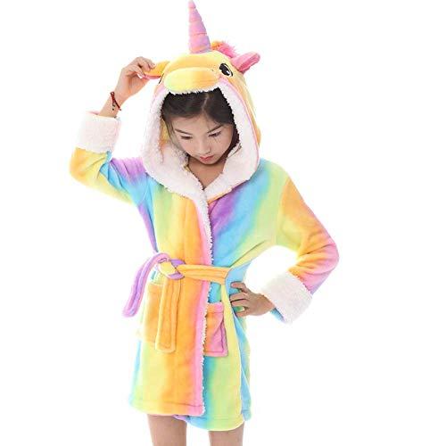 LITTHING Albornoz para niños con Capucha Unisex Patrón Unicornio Franela Linda Cómoda Ropa de Dormir Suave con Capucha Vestimenta Homewear (Arco Iris)