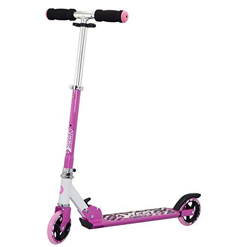 Best Sporting Big Wheel Scooter 125, niños Roller 73,5–83cm de Aluminio con Mangos de Soft, Patinete en Color Blanco/Azul y Blanco/Rosa, Fucsia/Blanco