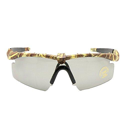 EnzoDate Gafas de Sol polarizadas Gafas de Militares del ejército los Hombres Frame 3/4 Lente Agencia de Juego de Guerra eyeshields(Camuflaje, polarizado 4 Lentes)