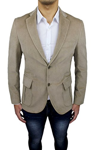 Giacca uomo Alessandro Gilles sartoriale beige casual elegante slim fit invernale made in Italy (L)