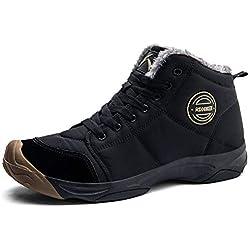 AZOOKEN Homme Femme Chaussures Trekking Randonnée Bottes de Neige Hiver Imperméable Outdoor Boots Fourrure Cuir Imperméable Sneakers(6118-black38)