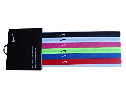 Nike Sport Bands Headband Hairband Multicolours 6 Pack Football Tennis