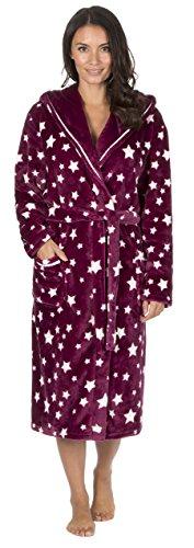 Donne Pile Supermorbido Cappuccio Con Stella Vestaglia Abbigliamento Da Notte Bordeaux