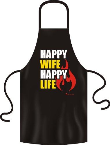 No-Compromise Grillschürze Schürze Latzschürze Bistroschürze Küchenschürze Kochschürze (Happy Wife Happy Life)
