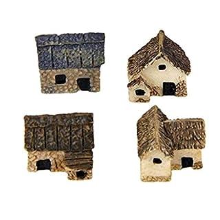 Kongnijiwa 4pcs Miniature Fairy Garden Stone Houses Mini Cottage House Miniatures Decor Accessories Gardening Decoration Kit