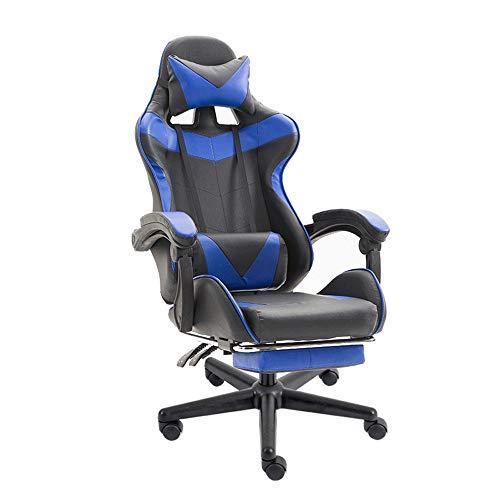 QJGhy Bürostuhl Schreibtisch Leder Gaming Stuhl, Home Modern High Back Ergonomisch Verstellbarer Rennstuhl, Task Swivel Executive Computer Stuhl Lordosenstütze (Color : Blue)