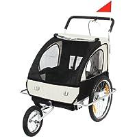 SAMAX 56640013, SAMAX Children Bike Trailer 2in1 Jogger Stroller with Suspension Silver Frame,White/Black (Sports & Outdoors)