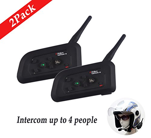ESTGOUK 2xV4 Motorrad Bluetooth Intercom,Support 4 Riders Real time Communication, 1200M Bluetooth Headset Gegensprechanlage mit FM Radio Kopfhörer wasserdicht (Atv Helm Mit Bluetooth)