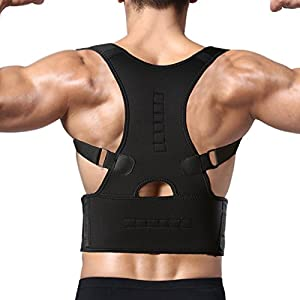 FITTOO Adjustable Magnetic Posture Corrector Back Shoulder Lumbar Waist Support Belt for Men and Women - Comfortable and Discreet, Pain Relief, Improve Posture