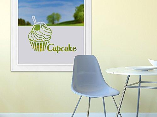 Graz Design Fenster Aufkleber Wiederverwendbar Fenster Aufkleber Dekoration für Küche Cupcake Muffin Cherry Backpinsel, 110x57cm (BxH) (Cherry Küche)