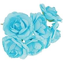 144pcs Mini Plantas Flor Rose Brotes Artificiales Arte Papel Decoración Boda Bricolaje - Azul