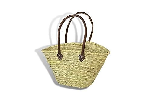 Large Moroccan Market Shopping Basket - Leather
