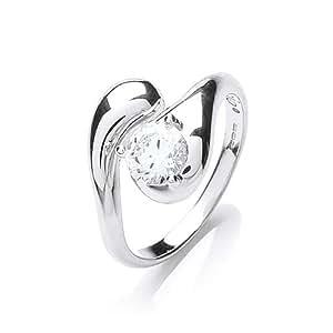 Rocio Illumini Alcor Rhodium Plated Silver White Swarovski Zirconia Stylish Soliaire Ring - Size M