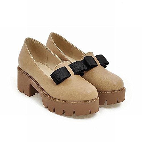 Mee Shoes Damen chunky heels Plateau runde Pumps Aprikose