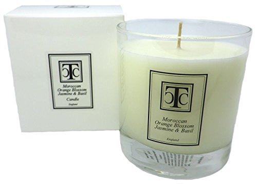 candle company Marokkanische Orangenblüten Jasmin und Basilikum Duftkerze 60Stunde, Wachs, weiß, 9x 9x 9,7cm -