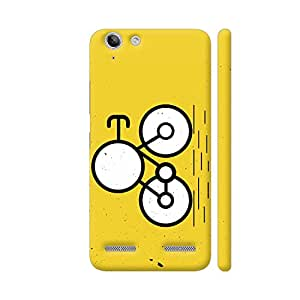 Colorpur Lenovo Vibe K5 / K5 Plus Cover - Cartoon Bicycle On Yellow Texture Printed Back Case