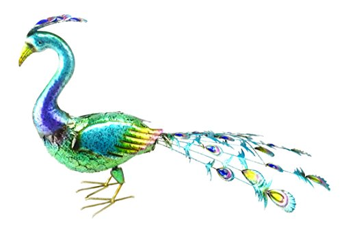 Christmas Concepts® 55cm Buntes Metall Standing Peacock Mit Jewel Tail Feathers - Indoor / Outdoor Garten (Peacock Tail Feather)