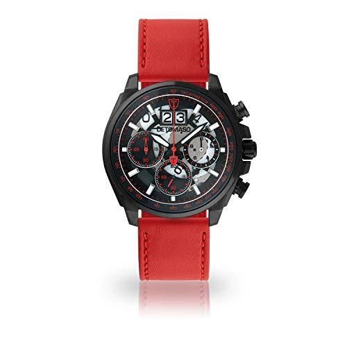 DETOMASO LIVELLO DT2060-B-907 - Reloj de Pulsera para Hombre, cronógrafo, analógico, Cuarzo, Correa de Cuero Rojo, Esfera Negra
