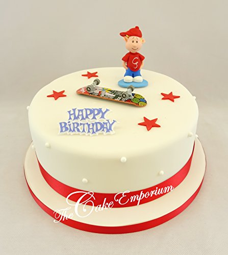 The Cake Emporium Ltd Skater Boy & Skateboard Ornament Zucker Sterne Ribbon & Happy Birthday Motto Kuchen Topper Set -
