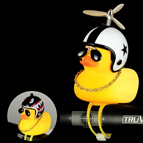 SYXBB Propeller Kleine Gelbe Ente,Fahrradklingel Warnglocke,Fahrrad Glocke Großer Klingelton Kleine Gelbe Ente Mit Helm Fahrradklingel Fahrradzubehör Für Kinder, Motorradhelm,W