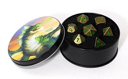 Druid Forge Metall-Würfel Polyhedral Satz Von 7 Dunklen Wald Bronze D & D RPG Alten Bronze Mit Grünen Zahlen (Würfel Benutzerdefinierte Polyedrische)