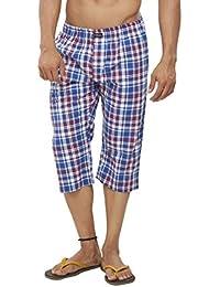 Clifton Mens Woven Capri -Blue/Red Checks - B01GVI4CYO
