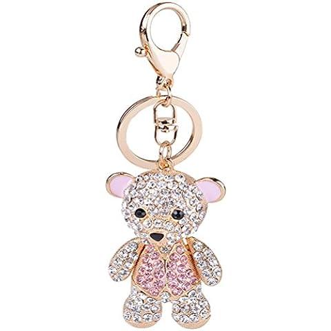 S&E Precioso mini oso llavero diamante diamante de imitación llavero Blingbling regalo de decoración de bolso
