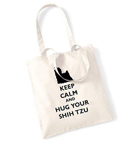 Keep calm and hug-Borsa con il cane shih tzu natur