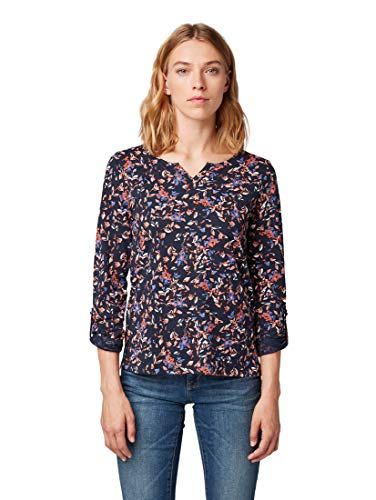 TOM TAILOR für Frauen T-Shirts/Tops 3/4 Arm Shirt mit Allover-Print Navy Large floral Design, M (Floral Print Top Blue)