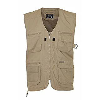 mens gillet dale by champion country clothing polycotton bodywarmer outerwear with multi pockets (LARGE, BEIGE)