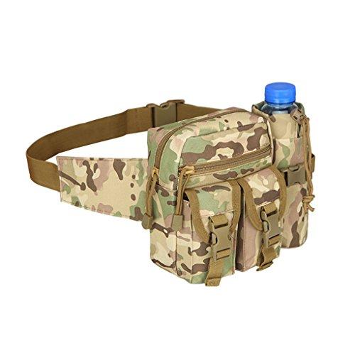 hmilydyk Military Fanny Pack Tactical Multifunktional Aufbewahrung Taille Tasche Pack Wasserdichte Hüft Gürtel Tasche mit Wasser Flasche Tasche Halter für Wandern Klettern Reisen Laufen Angeln Outdoor CP