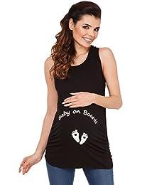 Zeta Ville - Camiseta Premamá Top sin Mangas Baby on Board - para mujer - 072c