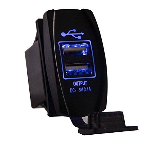 GEREE Universal Auto-USB-Ladegerät Rocker-Stil - mit blauem LED-Licht-Panel Dual USB-Steckdose für Wippschalter