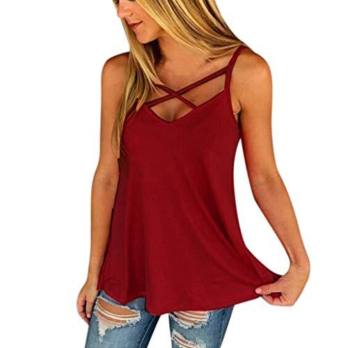 Vimoli T-Shirts Damen Hemden Blusen Tops Einfarbig Halfter Brust Cross Weste Tanktops T-Shirt(rot,M)