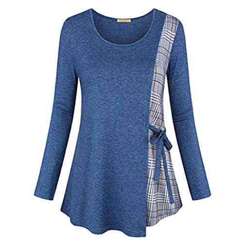 Dorical Damen Winter Gitter Printed Langarm T-Shirt mit Bogen/Lose Sweatshirt/Frauen Lang Sleeve...