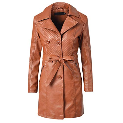 Lederjacken Braun für Damen Ledermantel Vintage Design Mantel,Frau Solid Freizeitjacke Windbreaker Lang Übergangsjacke Coat S-XL -