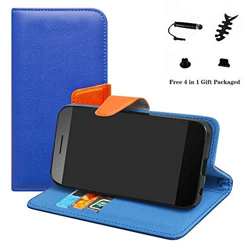 LFDZ Vodafone Smart E8 Hülle, [Standfunktion] [Kartenfächern] PU-Leder Schutzhülle Brieftasche Handyhülle für Vodafone Smart E8 Smartphone (mit 4in1 Geschenk Verpackt),Deep Blue