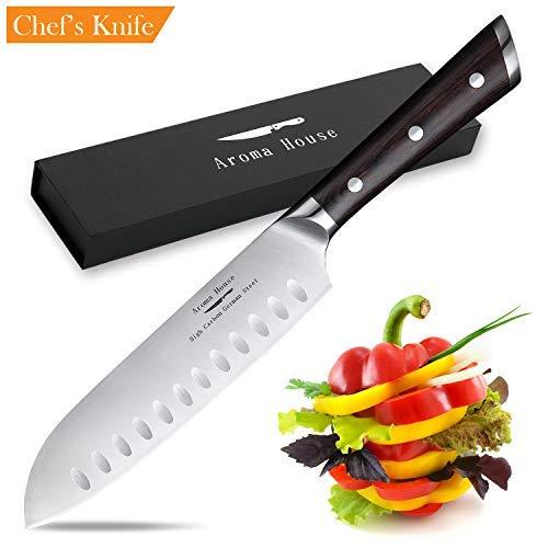 Cuchillo Santoku, 180MM cuchillo de Cocina Inoxidable Cuchillo de Esti