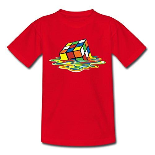 Spreadshirt Rubik's Cube En Train De Fondre T-shirt Ado, 134/146 (9-11 ans), rouge