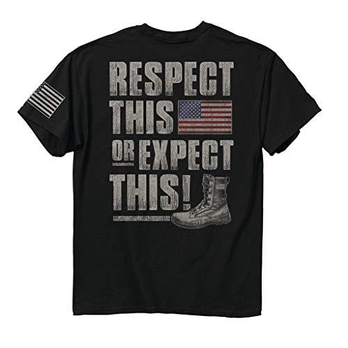 Buck Wear Herren Respect This Baumwoll-T-Shirt, Schwarz, Herren, 2044-XL, schwarz, X-Large