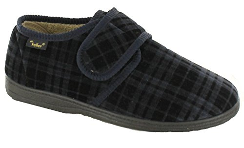 NEW DR KELLER MENS LUXURY FUR LINED SLIPPERS VELOUR ADJUSTABLE VELCRO WIDE FIT COMFORT INDOOR SHOES (UK 8, Navy)