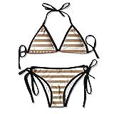 Photo de Brown United States of America Flag Bikini Women's Summer Swimwear Triangle Top Bikinis Swimsuit Sexy 2-Piece Set par Bikofhd